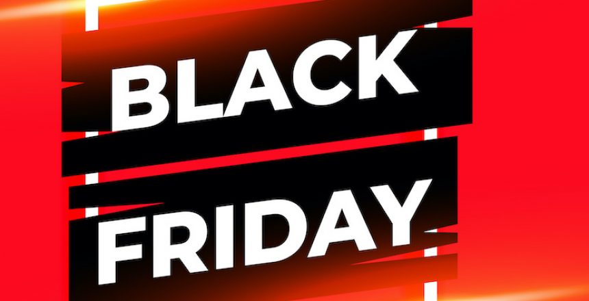 black friday red shiny banner with text space